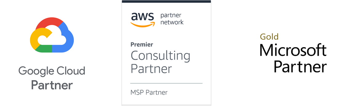 Google Cloud, AWS Premier Consulting, Microsoft Gold Partner Logos